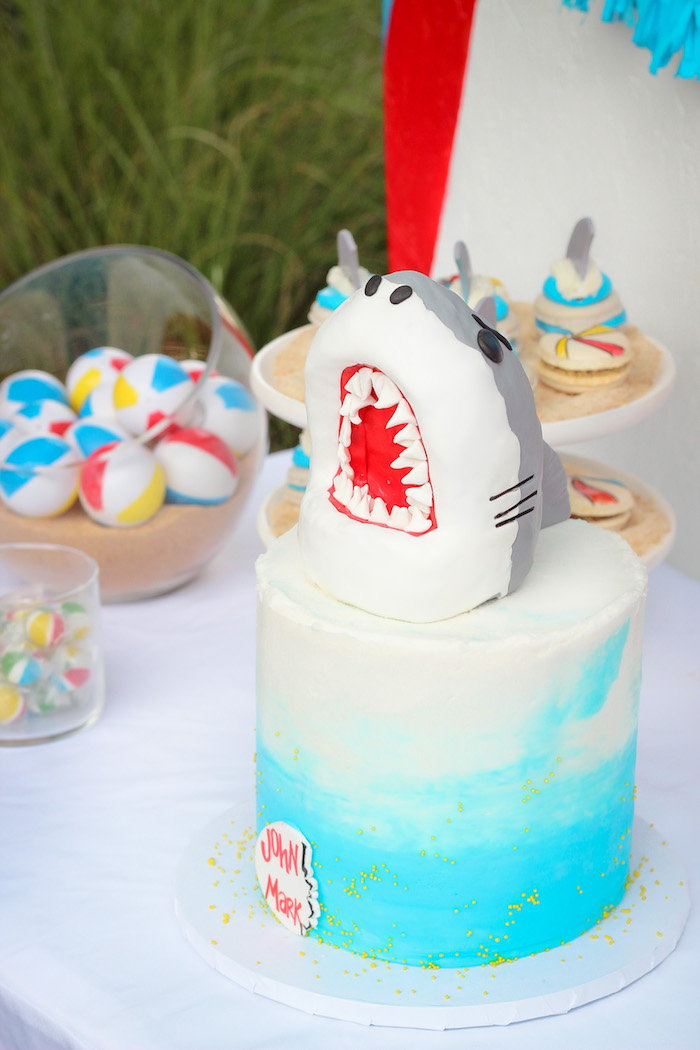 3D Shark Cake from a Beached Shark Birthday Party on Kara's Party Ideas | KarasPartyIdeas.com (14)