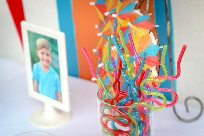 Funky straws from a Beached Shark Birthday Party on Kara's Party Ideas | KarasPartyIdeas.com (13)