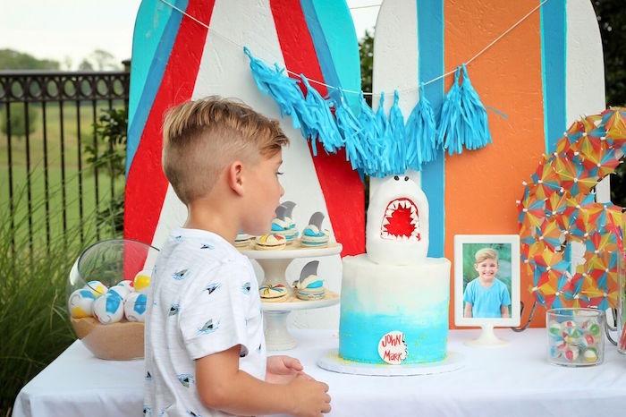 Cake table from a Beached Shark Birthday Party on Kara's Party Ideas | KarasPartyIdeas.com (11)