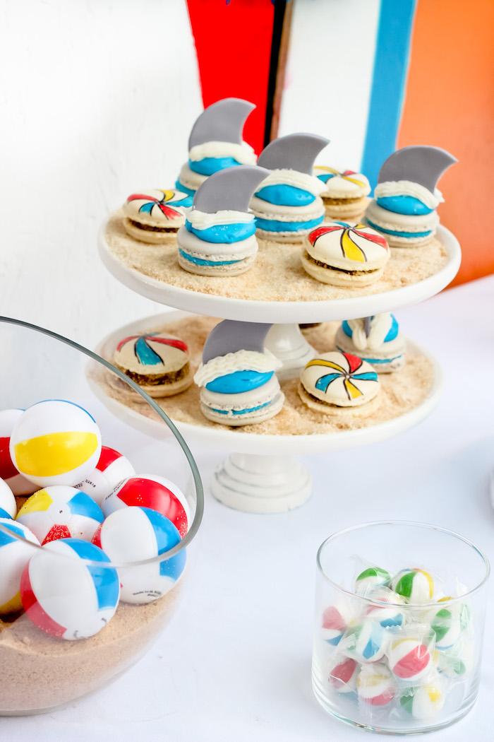 Shark & beach ball macarons from a Beached Shark Birthday Party on Kara's Party Ideas | KarasPartyIdeas.com (10)