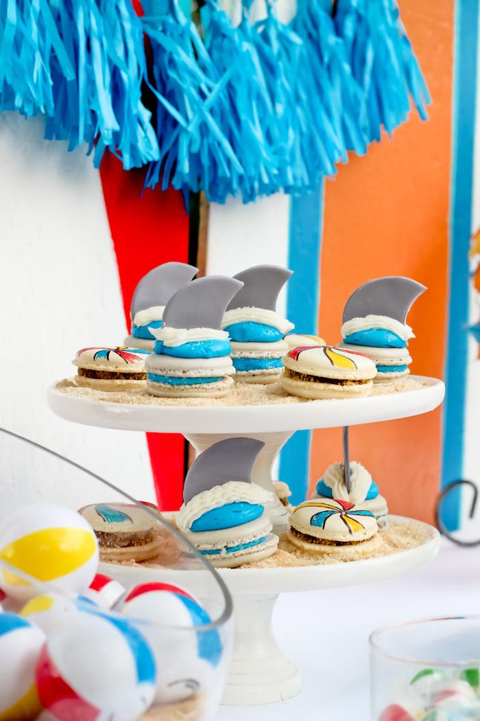 Shark & beach ball macarons from a Beached Shark Birthday Party on Kara's Party Ideas | KarasPartyIdeas.com (9)