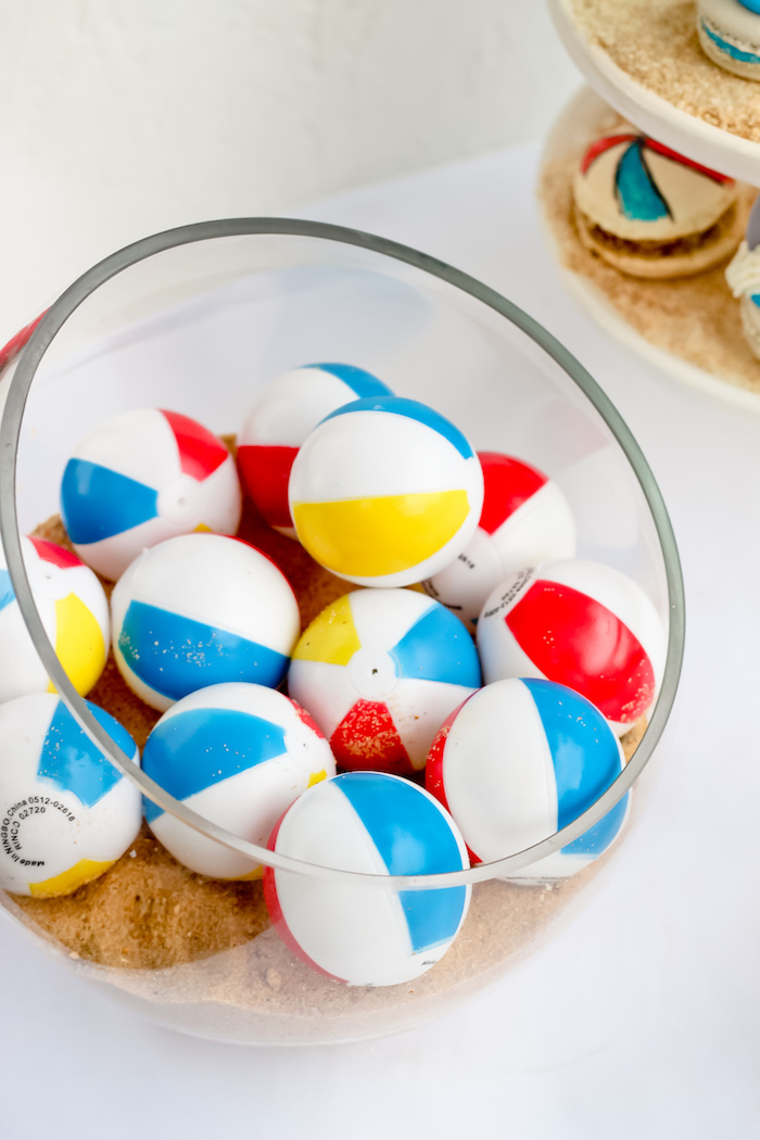 Beach ball squirters from a Beached Shark Birthday Party on Kara's Party Ideas | KarasPartyIdeas.com (8)