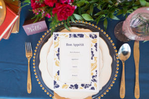 Place setting + menu card from a Beauty and the Beast Inspired Wedding on Kara's Party Ideas | KarasPartyIdeas.com (40)