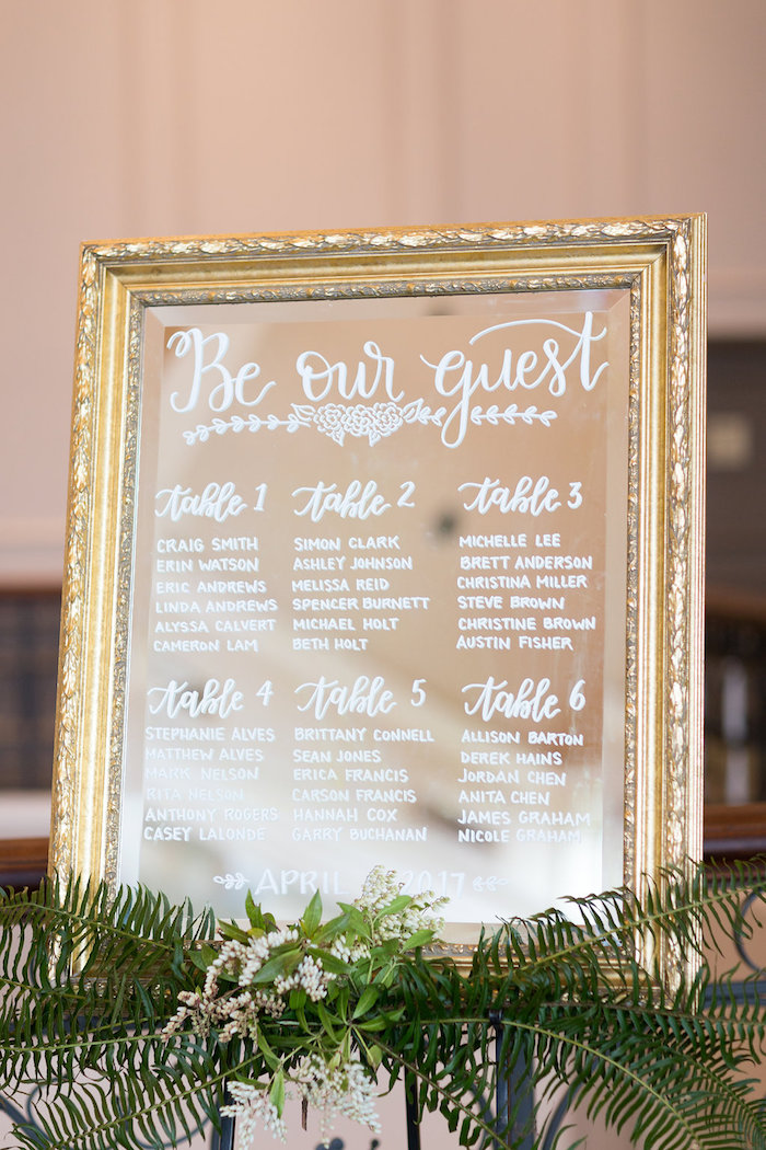 Mirror seating chart from a Beauty and the Beast Inspired Wedding on Kara's Party Ideas | KarasPartyIdeas.com (38)