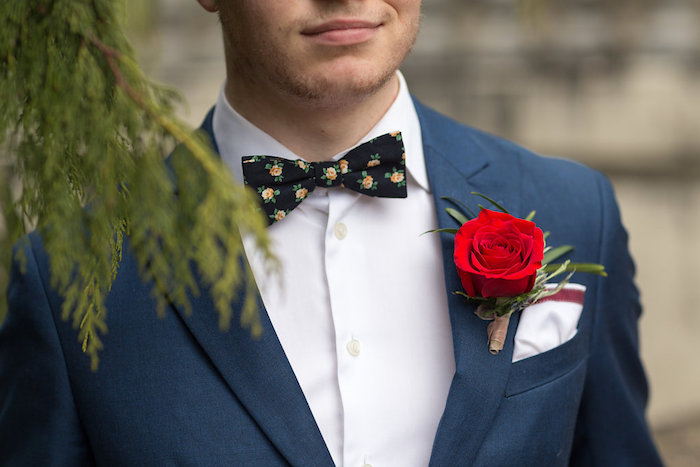 Rose printed bow tie from a Beauty and the Beast Inspired Wedding on Kara's Party Ideas | KarasPartyIdeas.com (26)