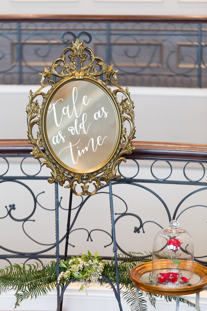 Tale As Old As Time Mirror from a Beauty and the Beast Inspired Wedding on Kara's Party Ideas | KarasPartyIdeas.com (23)