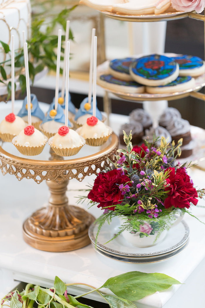 Sweet table detail from a Beauty and the Beast Inspired Wedding on Kara's Party Ideas | KarasPartyIdeas.com (16)