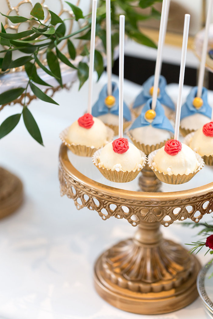 Cake pops from a Beauty and the Beast Inspired Wedding on Kara's Party Ideas | KarasPartyIdeas.com (15)