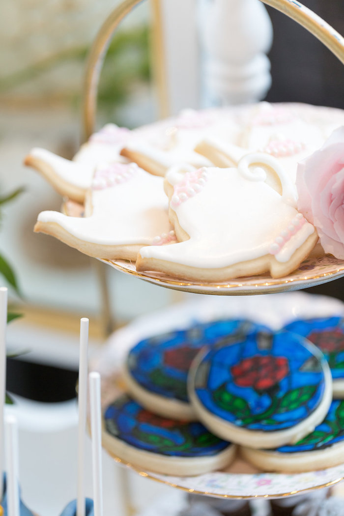 Tea Kettle Cookies from a Beauty and the Beast Inspired Wedding on Kara's Party Ideas | KarasPartyIdeas.com (14)
