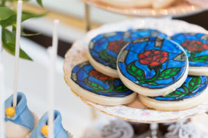 Stained glass Enchanted Rose cookies from a Beauty and the Beast Inspired Wedding on Kara's Party Ideas | KarasPartyIdeas.com (13)