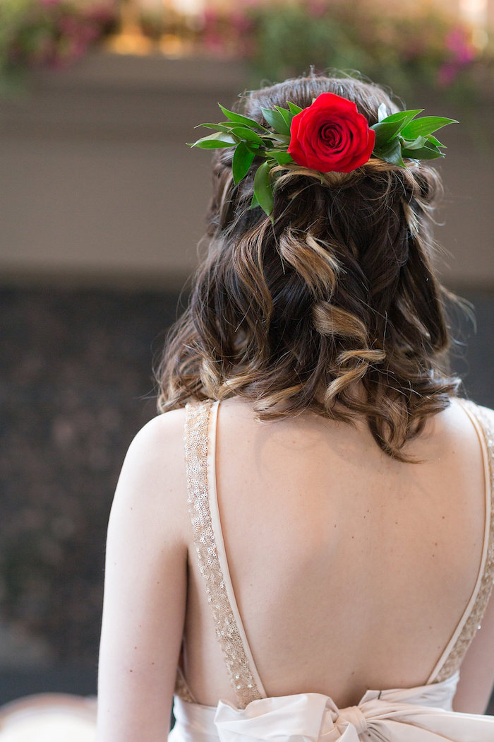 Enchanted Rose hairstyle from a Beauty and the Beast Inspired Wedding on Kara's Party Ideas | KarasPartyIdeas.com (5)