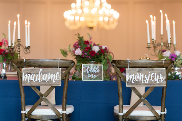 Madame & Monsieur chair signage from a Beauty and the Beast Inspired Wedding on Kara's Party Ideas | KarasPartyIdeas.com (46)