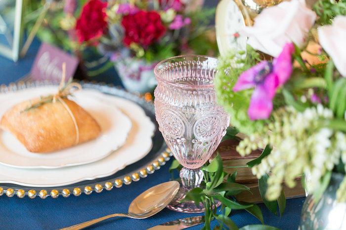 Pink crystal glass from a Beauty and the Beast Inspired Wedding on Kara's Party Ideas | KarasPartyIdeas.com (41)