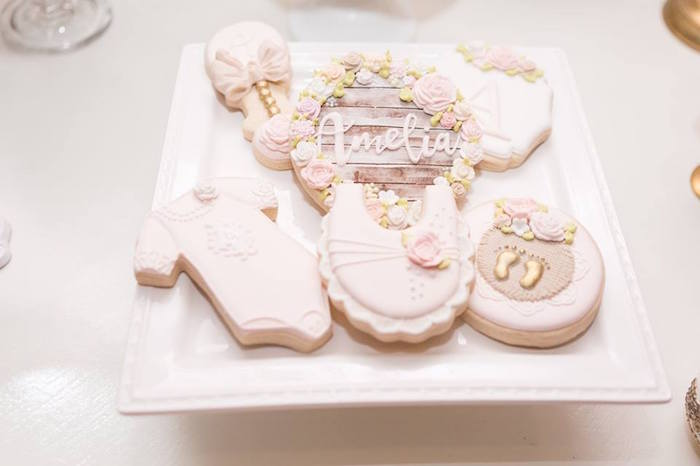 Baby themed sugar cookies from a Blush Garden Baby Shower on Kara's Party Ideas | KarasPartyIdeas.com (19)