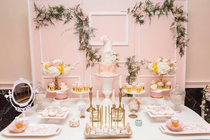 Dessert table from a Blush Garden Baby Shower on Kara's Party Ideas | KarasPartyIdeas.com (17)