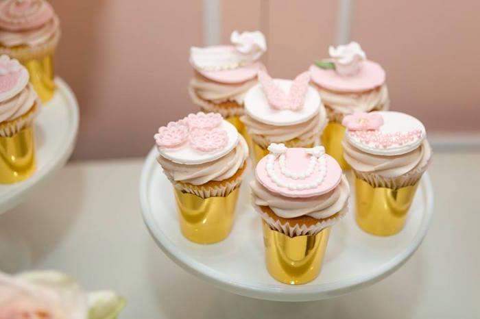 Cupcakes from a Blush Garden Baby Shower on Kara's Party Ideas | KarasPartyIdeas.com (14)
