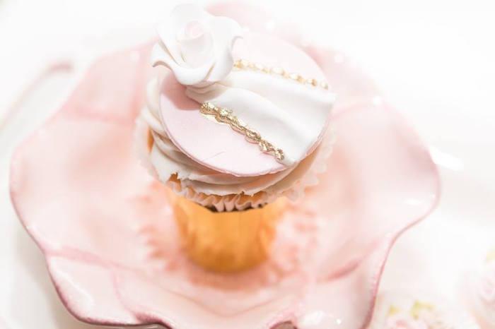 Fondant flower cupcake topper from a Blush Garden Baby Shower on Kara's Party Ideas | KarasPartyIdeas.com (13)