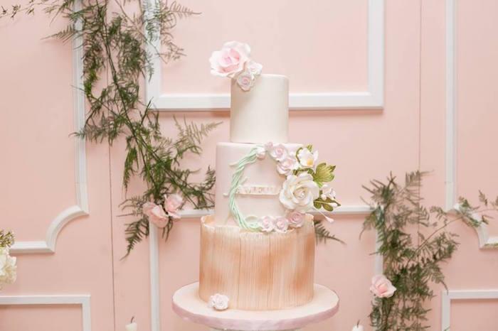 Cake & backdrop from a Blush Garden Baby Shower on Kara's Party Ideas | KarasPartyIdeas.com (11)