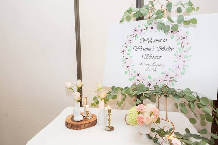 Welcome table from a Blush Garden Baby Shower on Kara's Party Ideas | KarasPartyIdeas.com (29)