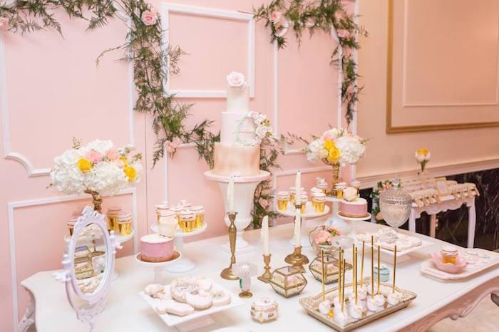 Dessert tablescape from a Blush Garden Baby Shower on Kara's Party Ideas | KarasPartyIdeas.com (10)