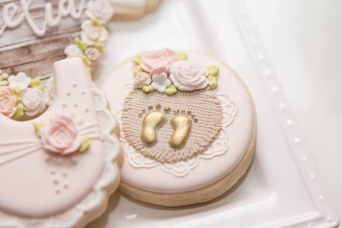Cookie from a Blush Garden Baby Shower on Kara's Party Ideas | KarasPartyIdeas.com (6)