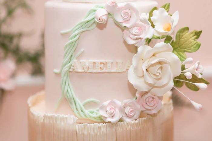 Cake detail from a Blush Garden Baby Shower on Kara's Party Ideas | KarasPartyIdeas.com (3)