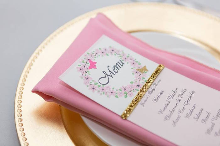 Place setting from a Blush Garden Baby Shower on Kara's Party Ideas | KarasPartyIdeas.com (28)