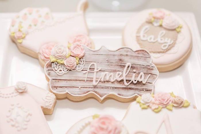 Custom wood grained cookie from a Blush Garden Baby Shower on Kara's Party Ideas | KarasPartyIdeas.com (27)