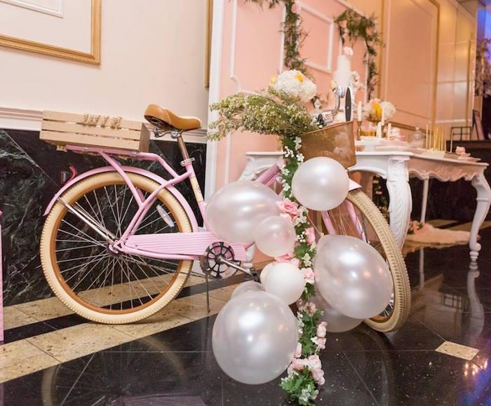 Pink bike from a Blush Garden Baby Shower on Kara's Party Ideas | KarasPartyIdeas.com (24)