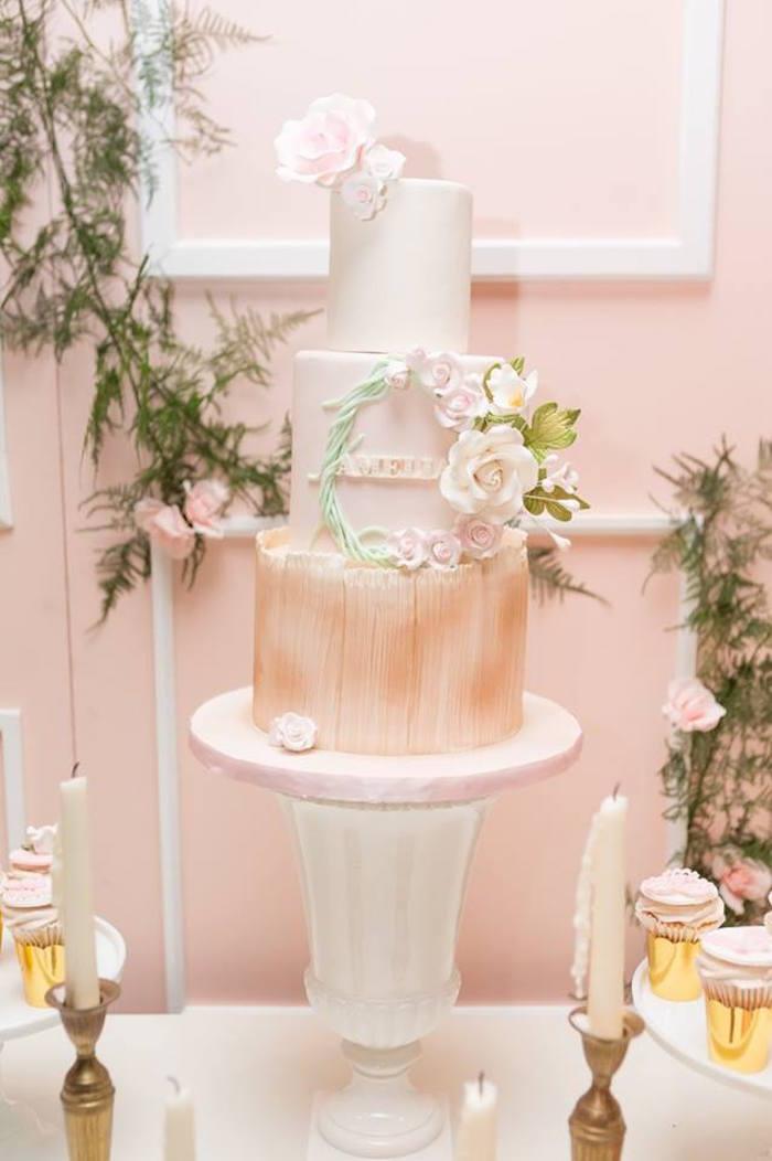 Cake from a Blush Garden Baby Shower on Kara's Party Ideas | KarasPartyIdeas.com (23)