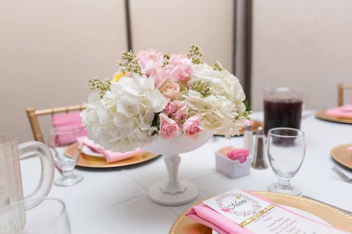 Guest table from a Blush Garden Baby Shower on Kara's Party Ideas | KarasPartyIdeas.com (21)