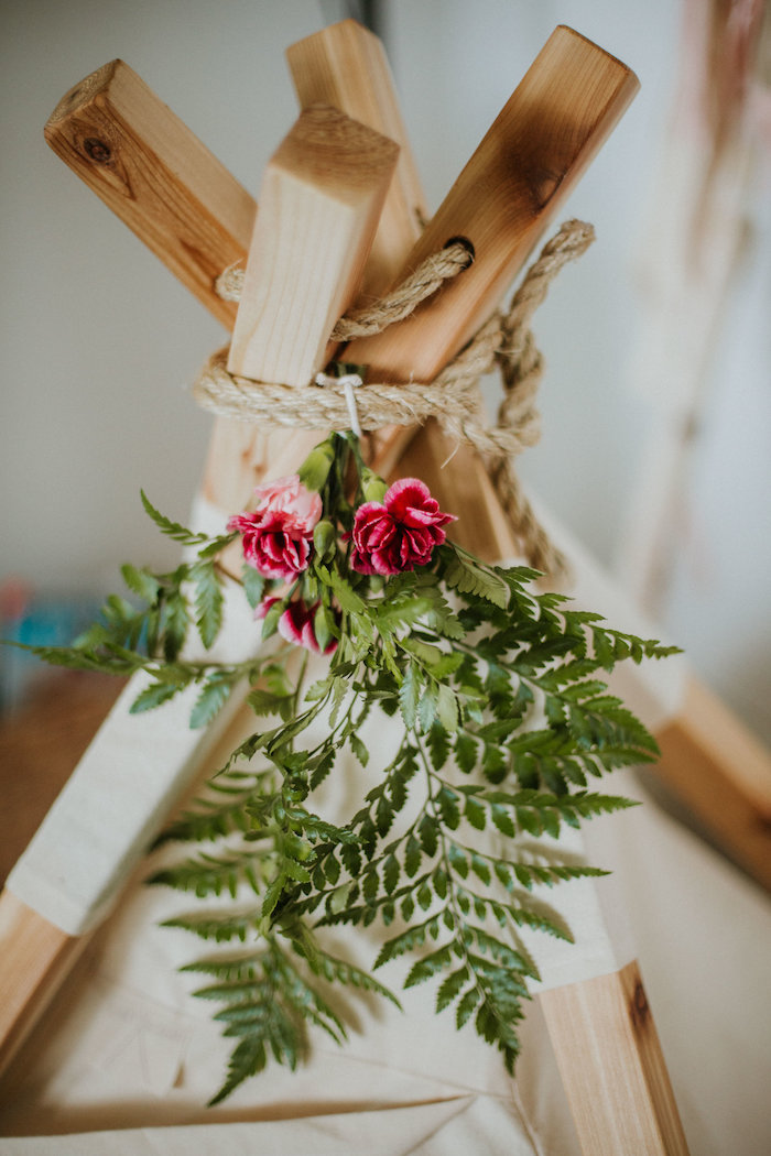 Floral teepee bunting from a Boho 2nd Birthday Party on Kara's Party Ideas | KarasPartyIdeas.com (16)