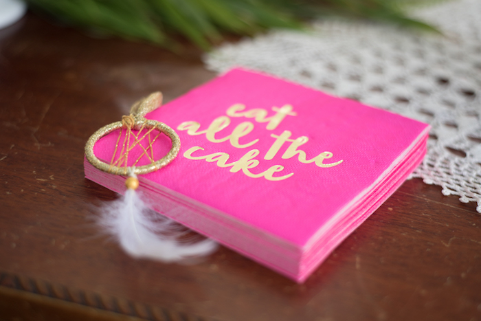 Custom 'eat all the cake' napkins from a Boho Backyard Brunch Birthday Party on Kara's Party Ideas | KarasPartyIdeas.com (30)