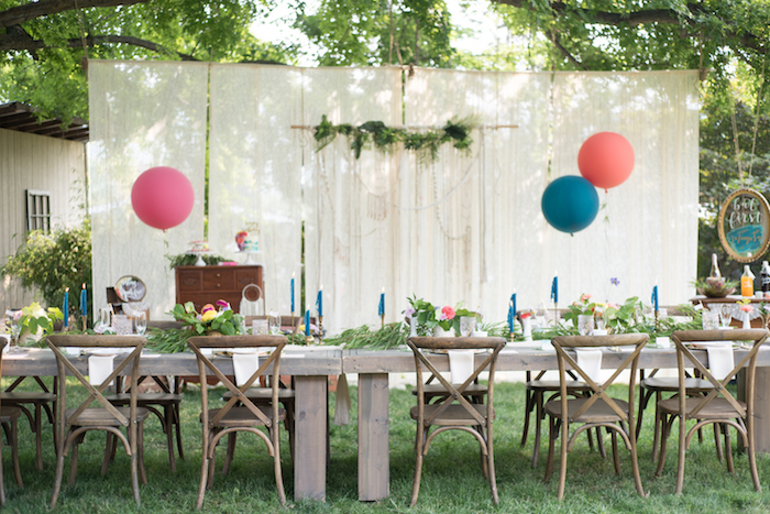 Boho brunch table from a Boho Backyard Brunch Birthday Party on Kara's Party Ideas | KarasPartyIdeas.com (29)