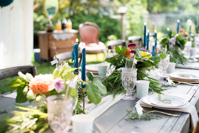 Guest tablescape from a Boho Backyard Brunch Birthday Party on Kara's Party Ideas | KarasPartyIdeas.com (28)