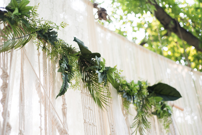 Bamboo greenery garland from a Boho Backyard Brunch Birthday Party on Kara's Party Ideas | KarasPartyIdeas.com (39)