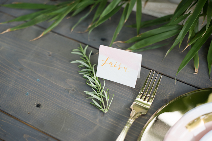 Watercolor place card from a Boho Backyard Brunch Birthday Party on Kara's Party Ideas | KarasPartyIdeas.com (19)