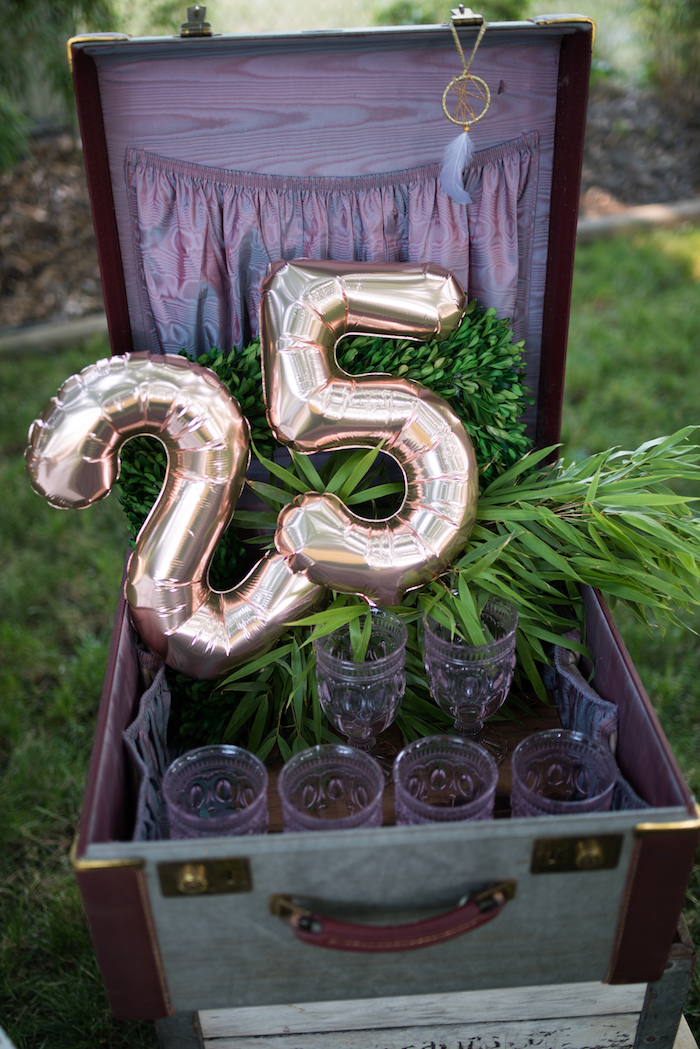 Gold mylar number balloons from a Boho Backyard Brunch Birthday Party on Kara's Party Ideas | KarasPartyIdeas.com (17)