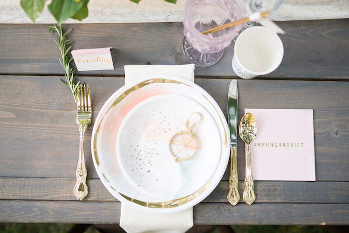 Watercolor place setting from a Boho Backyard Brunch Birthday Party on Kara's Party Ideas | KarasPartyIdeas.com (16)
