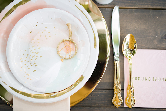 Blush and gold, watercolor place setting from a Boho Backyard Brunch Birthday Party on Kara's Party Ideas | KarasPartyIdeas.com (14)