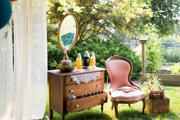 Mimosa bar from a Boho Backyard Brunch Birthday Party on Kara's Party Ideas | KarasPartyIdeas.com (13)