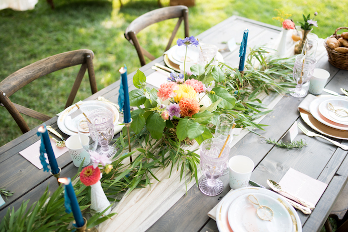 Brunch tabletop from a Boho Backyard Brunch Birthday Party on Kara's Party Ideas | KarasPartyIdeas.com (11)