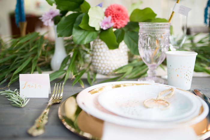 Place setting from a Boho Backyard Brunch Birthday Party on Kara's Party Ideas | KarasPartyIdeas.com (10)