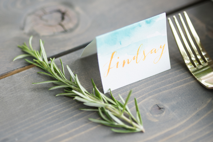 Watercolor place card and sprig from a Boho Backyard Brunch Birthday Party on Kara's Party Ideas | KarasPartyIdeas.com (9)