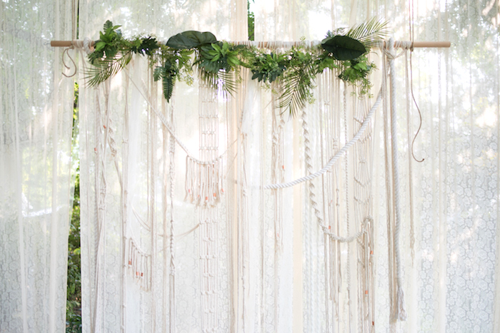 Macrame backdrop from a Boho Backyard Brunch Birthday Party on Kara's Party Ideas | KarasPartyIdeas.com (8)