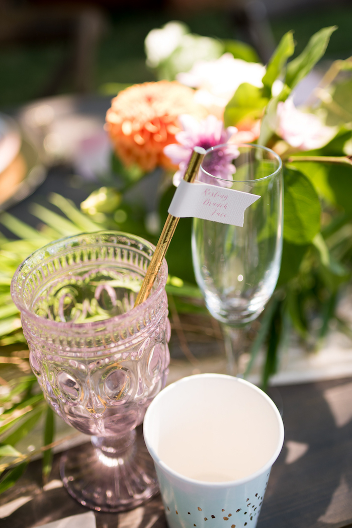 Drink glasses from a Boho Backyard Brunch Birthday Party on Kara's Party Ideas | KarasPartyIdeas.com (7)