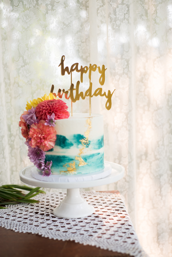 Floral watercolor cake from a Boho Backyard Brunch Birthday Party on Kara's Party Ideas | KarasPartyIdeas.com (37)