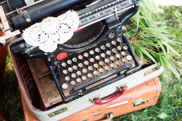 Vintage typewriter from a Boho Backyard Brunch Birthday Party on Kara's Party Ideas | KarasPartyIdeas.com (36)