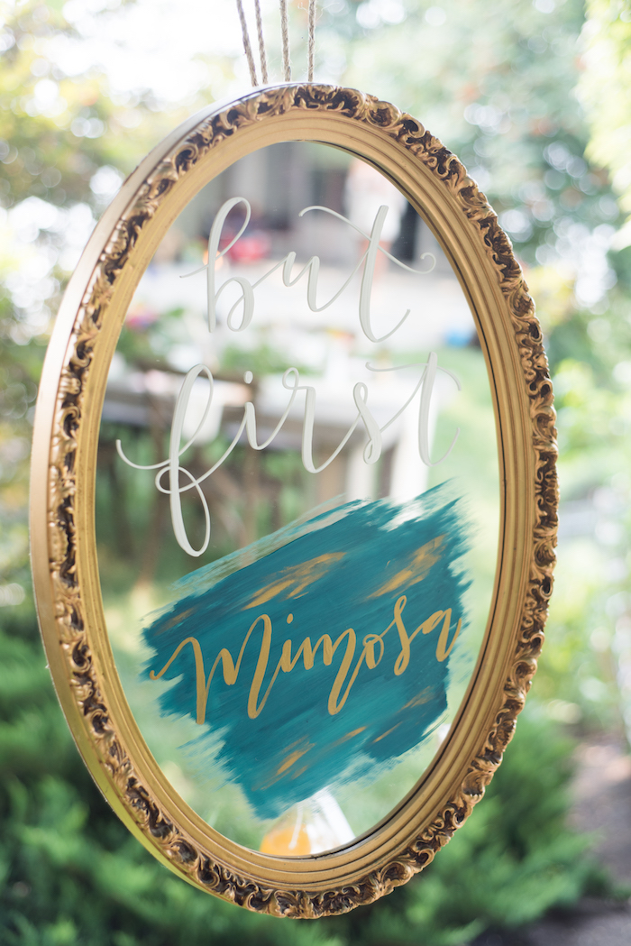Mirror sign from a Boho Backyard Brunch Birthday Party on Kara's Party Ideas | KarasPartyIdeas.com (34)