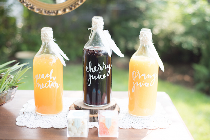 Mimosa bar from a Boho Backyard Brunch Birthday Party on Kara's Party Ideas | KarasPartyIdeas.com (32)